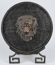 CAST ANDIRON SHIELD W/ BRONZE LION HEAD