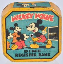 1939 MICKEY MOUSE DIME REGISTER BANK