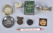 EARLY CRACKER JACK PRIZE LOT, BANK, SCALE & MORE