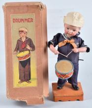 JAPAN Windup Celluloid SAILOR DRUMMER BOY w/BOX