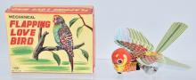 JAPAN Tin Windup FLAPPING LOVE BIRD w/ BOX