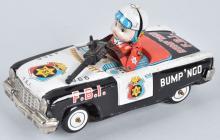 JAPAN Tin Windup BUMP N GO FBI CAR