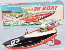 JAPAN Tin Windup SPEED 36 RACE BOAT w/BOX