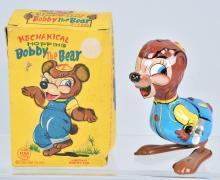 LINEMAR Tin Windup BOBBY THE BEAR HOPPER w/BOX