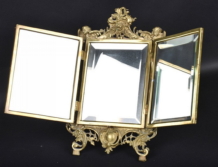 mirrors for bathrooms vanities brass tri fold beveled glass mirror 19536