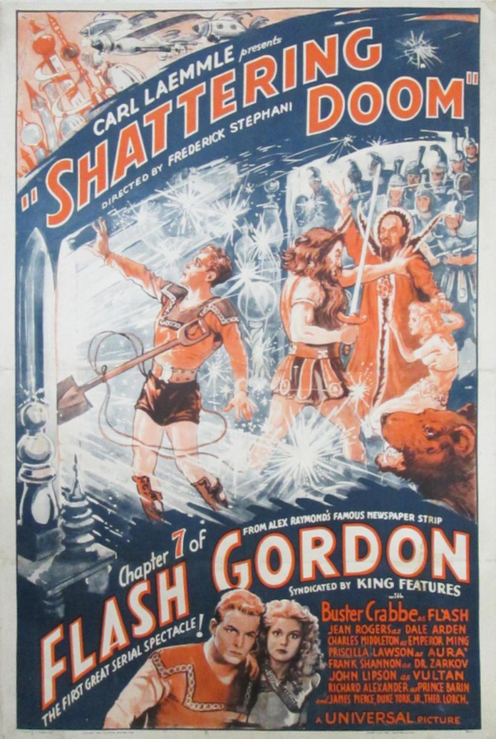FLASH GORDON CHAPTER 7 ONE SHEET ON LINEN