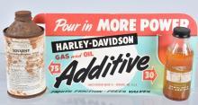 HARLEY DAVIDSON OIL ADDITIVE DISPLAY & BOTTLES