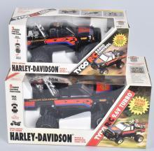 2-HARLEY DAVIDSON RADIO CONTROL TOY TRUCKS, MIB