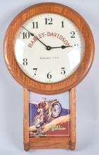 HARLEY DAVIDSON OAK RETRO WALL CLOCK
