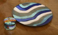(2) Mid-Century Modern enameled copper accessories