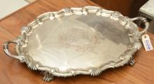 Large Victorian silver plated serving tray