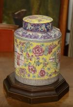 Chinese yellow ground jar and cover