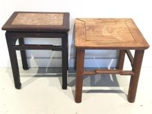(2) old Chinese hardwood side tables