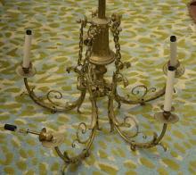 Gilt bronze 5-light chandelier