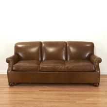 Ralph Lauren style brown leather sofa