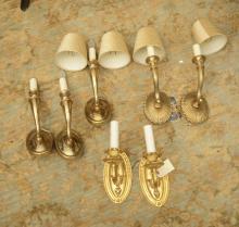 (3) sets decorator brass/gilt wall sconces