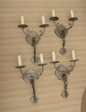 Set (4) Decorator wrought metal sconces