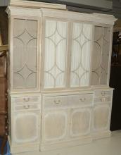 Chic bleached mahogany breakfront bookcase