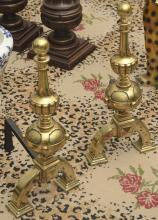 Pair Arts & Crafts style brass andirons