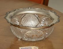 Gorham sterling silver rimmed cut glass bowl