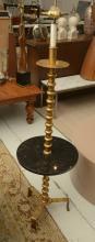 Mid-Century Italian gilt iron, marble lamp table