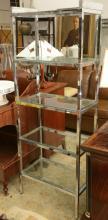Italian Modern chromed steel, glass bookshelf