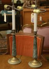 Pair Empire style bronze, marble stick lamps