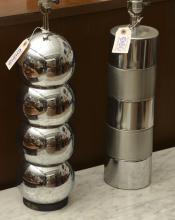 (2) Modernist chromed steel table lamps