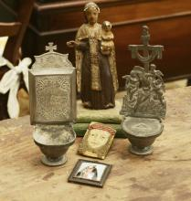 (5) ecclesiastic icons, relics and accessories