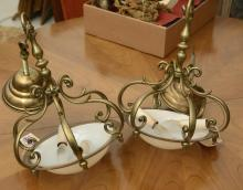 Pair brass and opaline glass hanging fixtures