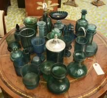 Large collection blue/green glass