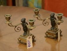 Pair Louis XVI style bronze candelabra