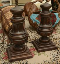 Pair heavy wood baluster table lamps