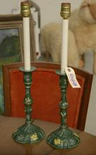 Staffordshire enamel style candlestick lamps