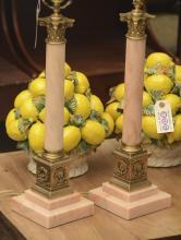 Pair marble Corinthian column table lamps