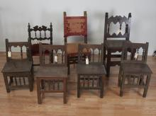 (7) antique Spanish Colonial side chairs