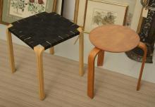 (2) Alvar Aalto style stools
