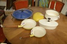 Group Mid-Century enameled cast iron cookware