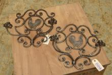 Country French style wrought iron rooster sconces