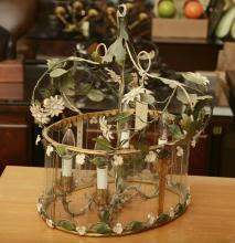 Italian gilt, painted iron, glass panel chandelier