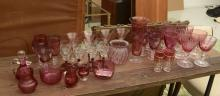 Vintage cranberry glass collection