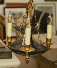 Antique Empire style bronze 3-light chandelier
