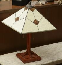 E.W. Less cherrywood, leaded glass lamp
