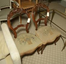 Pair Rococo Revival balloon back chairs