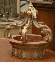 Italian giltwood bed crown