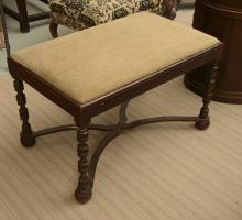 Antique Continental turned walnut bench