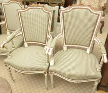 Pair Louis XV style painted armchairs