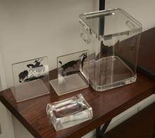(4) Modernist lucite accessories