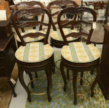 Set (4) Country French style swivel stools