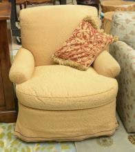 Contemporary decorator swivel club chair